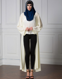Fashionable Elegant Ladies Long Sleeve Muslim Long Cardigan Plain Color Yellow Gray Plus Size Chiffon Abaya