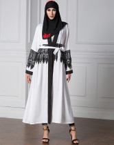 Wholesale Islam Women Clothing Long Sleeve White Abaya Dubai Muslim Plus Size Fashion Black Lace Abaya