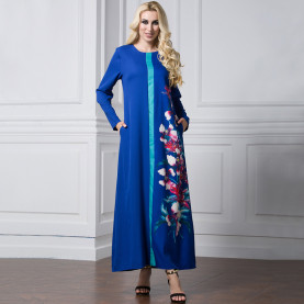 Elegant islam ladies flower girl dress muslim round neck royal blue red black Floral printing long sleeve maxi dress muslim