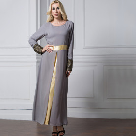 Wholesale Graceful women long sleeve muslim long dress chiffon round neck patchwork gray black green satin dress