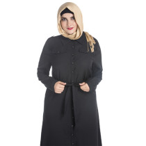 New design long sleeve islam women black muslim long dress shirt dress ankle length plus size muslim prayer dress