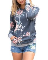 Women Hoodies Tops Floral Printed Long Sleeve Pocket Drawstring Sweatshirt With Pocket