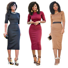 Women's Elegant Crewneck 3/4 Sleeve Polka Dots Bodycon Pencil Party Midi Dress
