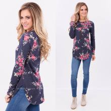 Womens Crewneck Long Sleeve Printed Floral Pullover Sweatshirts