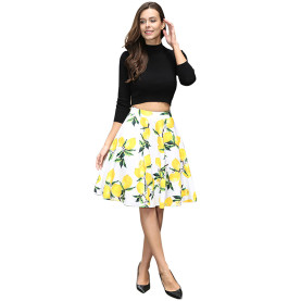 Good Quality High Waist Women Cotton Ladies Fashionable Lemon Printed Skirt Patterns A Line knee length Short Skirt No Panties