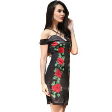 Hot Sale Ladies Drop Shoulder Sexy Mini Bandage Bodycon Dress Sleeveless Short Rose Women Casual One Piece Dress In Floral Print