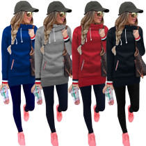 Womens Long Sleeve Collar Fleece Casual Pullover Hoodies Sweatshirts Sweater Outerwear Coat Jacket Dress