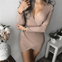 Wholesale Sexy Women Night Club Rib Dresses Long Sleeve Mini Dress Cotton Blend Deep V Neck Dress