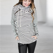 Women's Double Hooded Cotton Stripe T Shirt Funnel Neck Banded Bottom Casual Pullover