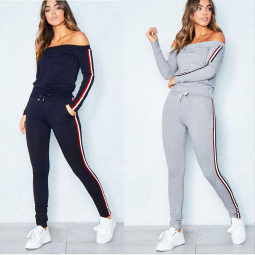 Women's Boat Neck Off Shoulder Side Striped Sexy Hoodie Suit Tracksuit Sweatsuit