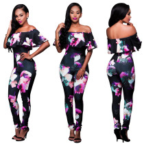 Women's Plus Size Off Shoulder Floral Printed Cropped Wide Leg Jumpsuits Rompers
