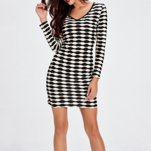 Classic V Neck Women Striped Ladies Design Dress Black And White Plus Size Long Sleeve Jersey Dress