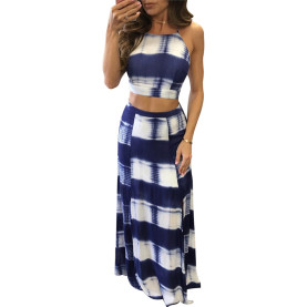 Blue Slip Top Side Slit Dress Sexy Two Piece Set Women Clothing