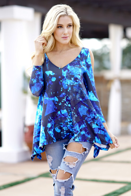 Wholesale ladies fashion cold shoulder tops shirts women long sleeve printed latest blouse designs 2018