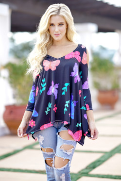 Butterfly Print Women 3/4 Sleeve T Shirt Female Ladies Plus Size Soft Comfort Top Tee Fashion Cold Shoulder T-shirt