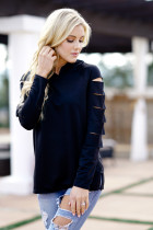 Solid Black Loose Casual Blouse Plus Size Shirt Hippie Pull Femme Hat Coats Mori Girl Hollow Tunic Shirt Button Top