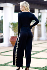 Black Elegant Long Rompers Womens Side Sequined Jumpsuits Front Lace-Up V Neck Long Sleeves Loose Wide Leg Pants