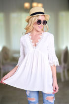 Casual Summer 2018 Vintage Floral Cutwork Lace Trim Top Women Short Sleeve Tunic Blouse Ladies V Neck Blusas White