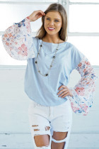 Loose Flared Long Sleeve Blouse Summer Women Beach Casual Floral Printed Patchwork Tops Shirt Blusas Femininas 2018