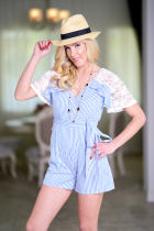 Double V Neck Women Summer Fashion Stripe Playsuit Ladies Casual Lace Patchwork Bow Tied Wrap Short Jumpsuit Romper Blue