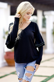 Casual Tape Details Double Layer Ruffles Long Sleeve T-Shirts 2018 Spring New Women Knitted V Neck Top Tee Plus Size