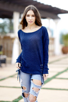 Women Casual Tops Long Sleeve Blouse 2018 Spring Fashion Lacing up Tied Eyelet Details Top blusas Plus Size