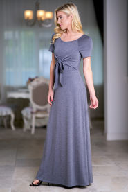 Elegant Women Summer Short Sleeve O Neck Casual Party Gray Vestido Bow Waist Loose Solid Maxi Ankle Length Dress