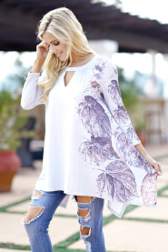 Women's Casual Loose Leaf Print Floral Tops Tees 2018 Summer T Shirt Ladies Asymmetric Batwing Long Tops T-Shirt