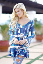 New Women Boho Print Spring Tops 2018 Fashion Flare Long Sleeve Shirt Top Tee 3xl Plus Size Long Tassel Shirts