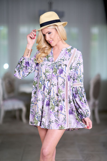 V Neck Thin Dress 2018 Summer Autumn Vintage Floral Printed Dress Long Sleeve Loose Mini BeachDresses Vestidos Mujer Purple