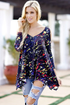 Plus Size Spring T-Shirt Ladies Fashion Loose T Shirts V Collar 3/4 Sleeves Printing Floral Casual Bottoming Tops