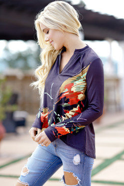 Elegant Casual Plus Size 2018 New Women's Print Tops Floral Print V Neck Long Sleeve Tops Female 3XL Loose Tee Shirt