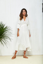 Backless Bow Tie Lace White Dress Women V Neck Half Sleeve Wrap A Line Beach Sexy Dress 2018 Summer Beach Boho Long Midi Dress