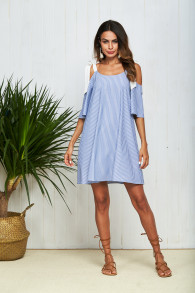 Striped V Neck Bow Tie Bandage Strap Summer Dress Half Sleeve Sexy Cold Shoulder Loose Beach Dresses for Women 2018