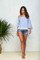 Slash Neck Special Roll Flared Long Sleeve Loose Blouse Shirt with Lace Patchwork Tops Sexy Off Shoulder Striped Tee TOM11038