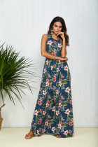 Summer Casual Clothing Sexy Womens Sleeveless Beach Long Dress Elegant Ladies Boho Floral Printed Maxi Party Dresses