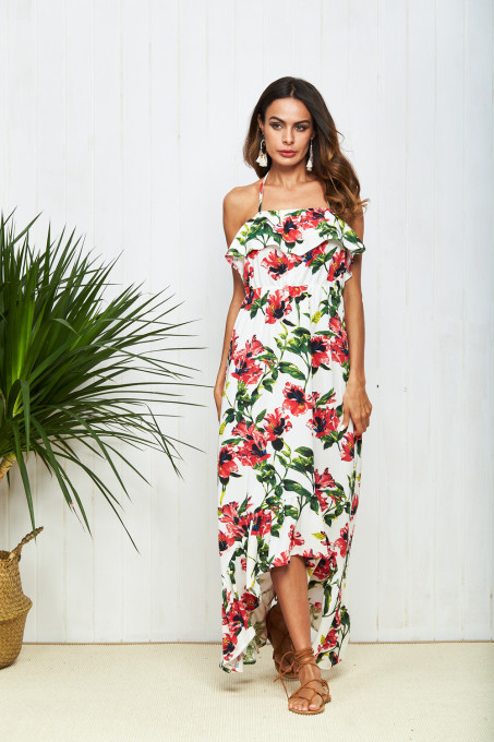 Floral Print Boho Dress Sleeveless Ruffles Dress Women Summer Halter Elegant Dresses Sexy Backless Sundress Beach vestidos 2018