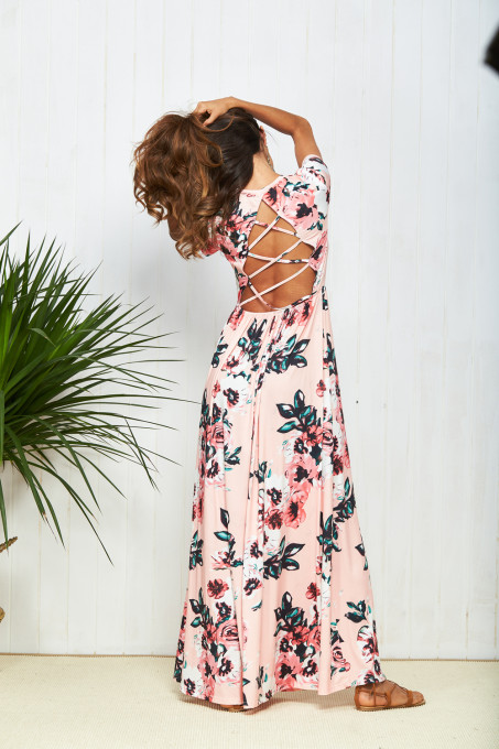Women Printing Elegant Dress Good Quality O-neck Floor-length vestidos Women Cross Backless Sexy Summer Dress Vintage Dresses