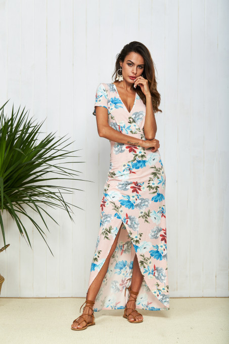 New Hot Women Dress Floral Print Cross Split Sexy Bodycon Dress V Neck Elegant Summer Dresses 2018 femme Long Maxi Vestido mujer TOM1025