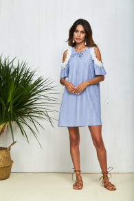 Patchwork Lace Dress Summer Fashion 2018 Striped Cold Shoulder Dress Lace Up V Neck Hollow Out Casual Women Dress