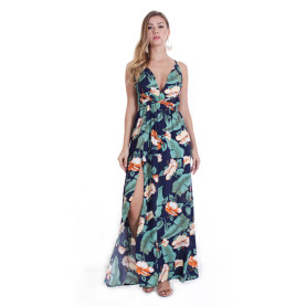 Sleeveless Floral Print Long Maxi Dress TOM1040