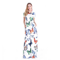 Butterfies Printed Long Maxi Dress White TOM1035