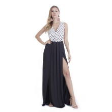 Segment Color Long Maxi Dresses Black TOM1038
