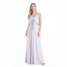 Sleeveless Light Grey Long Maxi Dress TOM1041