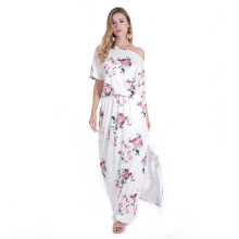 3/4 Sleeve Long White Floral Printed Maxi Dresses TOM1043