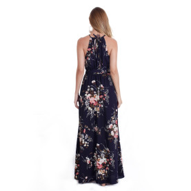 Navy Sleeveless Long Maxi Floral Prints Dresses TOM1037