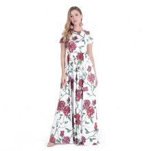 Rose Printing Flora Printed Maxi Long Dress