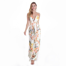 V Neck Backless Flower Printed Long Maxi Dress White TOM1050