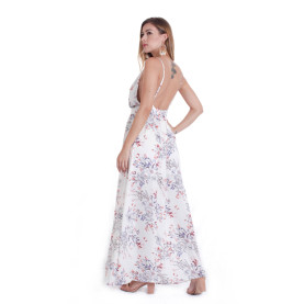 V Neck Hot Sales Backless Sleeveless Long Printing Dress