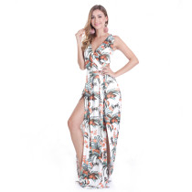 Sleeveless Long White Flora Printed Maxi Hot Sales Dress